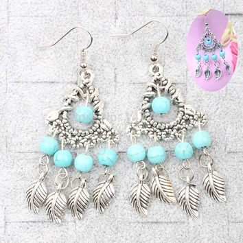 Lastest Popular  Bohemian Style Leaves Tassel Turquoise Earrings Rhinestone Jewelry Accessories = 1928585028