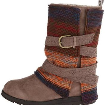 Muk Luks Women's Nikki Belt Wrapped Boot, Grey, 7 M US