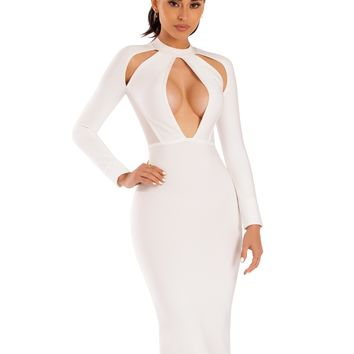 Qiana White Keyhole Cut Out Long Sleeve Bandage Dress