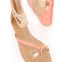 Coral Ankle Chain Strappy Sandals Faux Leather