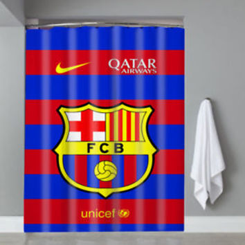 Hot Famous Top Barcelona FC Logo Striped Custom Shower Curtain Limited Edition