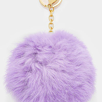 Large Rabbit Fur Pom Pom Keychain, Key Ring Bag Pendant Accessory - Pastel Lilac