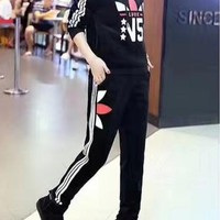 """Adidas"" Women Casual Stripe Multicolor Print Hooded Long Sleeve Trousers Set Two-Piece Sportswear"