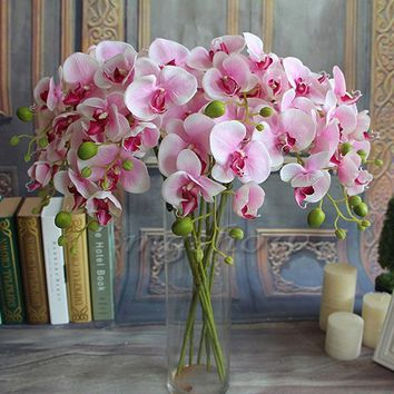 Artificial Silk Colorful Phalaenopsis Butterfly Orchid Leaf Pot Flower Arrangement