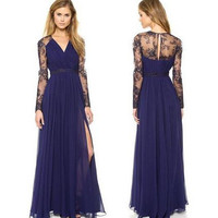 Hot Sale Lace V-neck Long Sleeve Chiffon Mosaic Prom Dress One Piece Dress [4920349828]