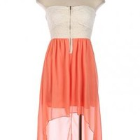Summer Memories Lace Strapless Sweetheart High Low Dress in Coral | Sincerely Sweet Boutique