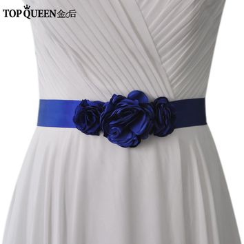TOPQUEENS226 Women's  Sash BWedding Bride Bridesmaid Flowerelt Accessories  For the Wedding Evening Party Bridal Dress Prom Gown