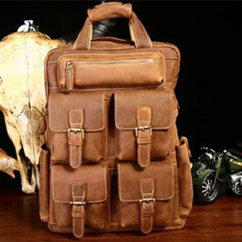 University College Backpack New Men Genuine Crazy horse Leather  Students s Vintage Style Travel Bags Men Laptop School Bags Casual AT_63_4