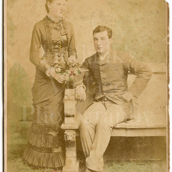 Cabinet Card Photo Victorian Young Smart Married Couple Hand Tinted Portrait - London Stereoscopic Company - Antique Photograph