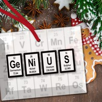 Genius Periodic Table of Elements Glass Christmas Ornament