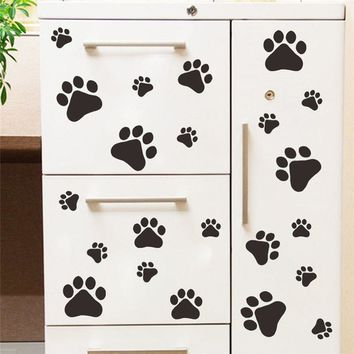 funny Dog Cat Paw Print poster for kids room home decal Wall Stickers DIY cabinet door Food Dish Kitchen Bowl Car sticker decor