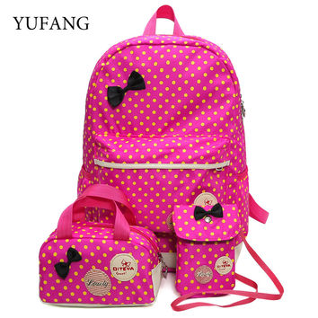 School Bags For Girls Children Backpacks Dot Printing Bow Princess Toddler Backpack Kids Bag Schoolbag Mochilas 3Pcs/set