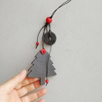 Christmas tree ornament, black fir tree ornament with 2018 year charm, modern minimalist Xmas tree decor, κεραμικό έλατο γούρι 2018