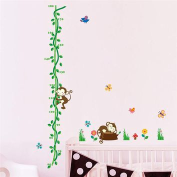 Cartoon Sleeping Monkeys Tree Birds Flower Height Measure Wall Stickers For Kids Rooms Height chart Nursery Bedroom Decor