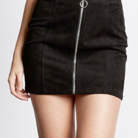 Faux Suede Zip Up Skirt