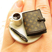 Coffee Ring Diary Ring by SouZouCreations on Etsy