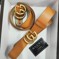 GUCCI Tide brand classic double G buckle simple wild jeans belt