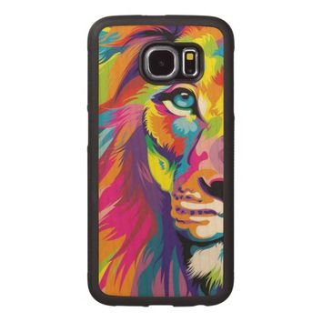 Colorful Lion Wood Phone Case