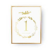 Table Number Wreath, Wedding Decoration, Wedding Signs, Real Gold Foil Print,Wedding Print,Gold Foil Sign Wedding, Wedding Decor,Table Decor