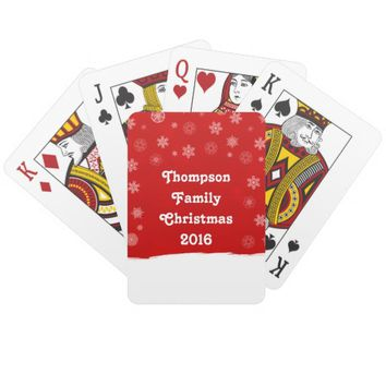Snowflakes Holiday Design with a Red Background Poker Deck