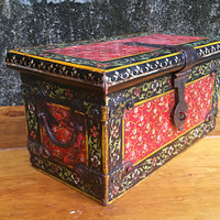 Antique Central European Hand Painted Wooden Strong Box Wood Folk Art Box