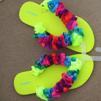 Ladies Neon Rainbow Ruffled on Neon Yellow Flip Flop Sandal