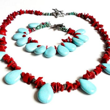 Vintage Turquoise Red Coral Necklace Bracelet Set Tear Drop Chrysoprase Artisan Made Sun Moon Toggle Southwestern Style
