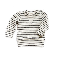 Crew Sweatshirt in Charcoal Stripes