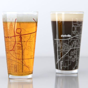 Starkville, MS - Mississippi State - College Town Map Pint Glass Set