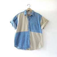 20% OFF SALE / 80s oversized denim shirt. Patchwork jean shirt. button up shirt.