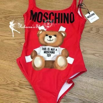 Moschino Fashion Cute Bear Prints Halter Vest Style One Piece Bikini Swimsuit I