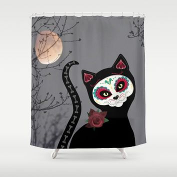Day of the Dead Cat Shower Curtain by UMe Images