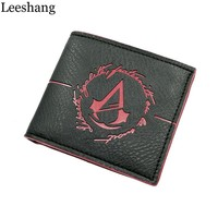 Leeshang New Assassins Creed Men's Wallet With Coin Pocket Game Minimalist Small Purse Assassins Creed Wallet Leather Men Wallet