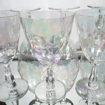 "Fostoria Shell Pearl Pattern Wine Glasses,6"" Water Goblets,  Pearlescent Optic Glass - Vintage 1950s 1960s Fostoria Glass Set of 8"