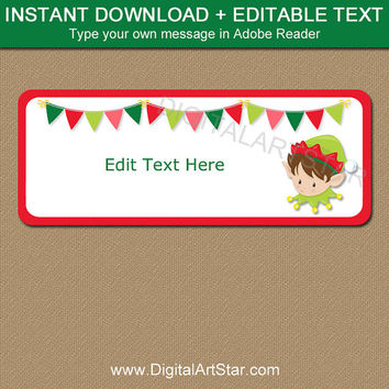 Printable Holiday Label, Christmas Gift Tags, Holiday Gift Label, Elf Labels, Instant Download Kids Christmas Tags, Return Address Label C2