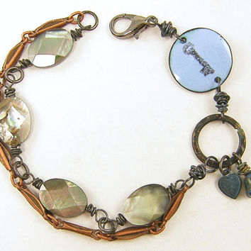 Key Bracelet with Mixed Metal Enamel Shell Bead Chain