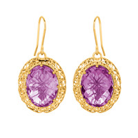 Spider Web Inspired Amethyst Earrings In 14K Gold
