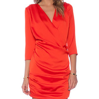 Line & Dot Gianni Ruched Mini Dress in Red