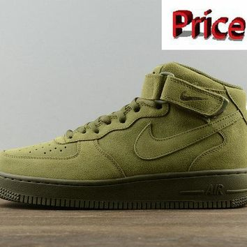 Sneaker paint Nike Air Force 1 Mid Olive Legion Green Mens Skate Sneaker 315123-302 shoes