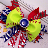 "Custom Softball Bow with 7"" Spike ribbons"