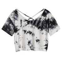 Women's Tie Dye Criss Cross Back Crop Summer T Shirt