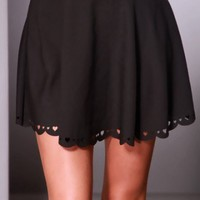 Black Heart Perforated Scalloped Trim Mini Skirt @ Amiclubwear Clothing Skirts Online Store:Long Skirt,Mini Skirts,Poodle Skirt,Plaid Mini Skirt,Micro Mini Skirt,Jeans Skirts,Black Mini Skirt,Up Skirt,Short Skirts,Leather Skirts,Pencil Skirts,High Waist P