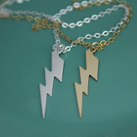 Gold Filled, Sterling Silver Dainty Lightning Bolt Pendant Necklace, Celebrity Inspired, Dainty, Everyday Jewelry