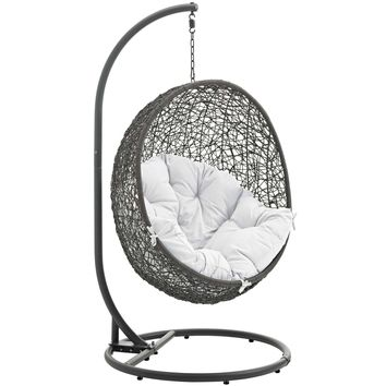 Hide Outdoor Patio Swing Chair With Stand Gray White EEI-2273-GRY-WHI