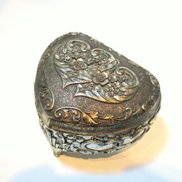 Heartshaped Silver Trinket Box Vintage Keepsake Box with Hearts and Roses Design Red Lining, Romantic Floral Heart Shaped Jewelry Box