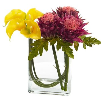 Artificial Flowers -12 Inch Calla Lily And Artichoke In Glass Vase No4
