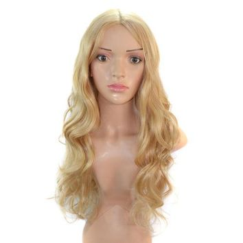 Extra Long Blonde Gold Wavy Hair Cap Wig 70cm Central division style