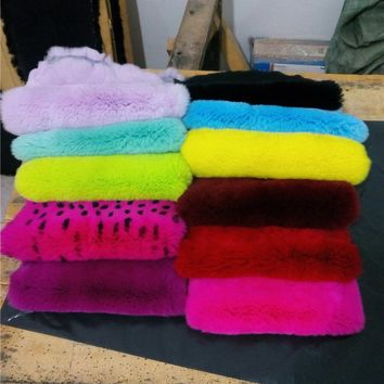 Rex rabbit skin fur raw material  DIY material for craft tanned rabbit pelt dyed color rex rabbit fur phone case