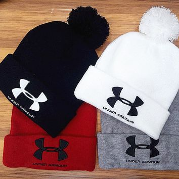 Under Armour Woman Men Fashion Embroidery Beanies Winter Knit Hat Cap