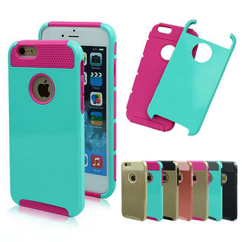 For iphone 6S 6 Case Shockproof Dual Layer TPU Hybrid Rugged Armor PC Slim Hard Back Case Cover For iPhone 7 6 6S Plus 5 5s SE